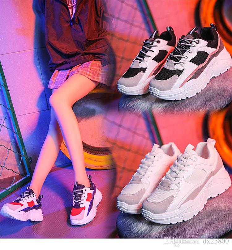 Женская обувь 2019 Новых коренастых Кроссовок для женщин вулканизации обуви Повседневной моды папа обувь платформы кроссовки корзинка Femme Krasovki