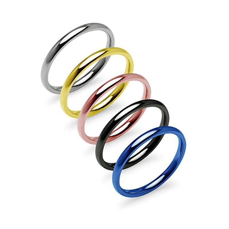 2020 Explosiones 2 mm de ancho pares del anillo de acero de titanio mujeres de la joyería de oro rosa anillo de oro Par Plating Acero inoxidable