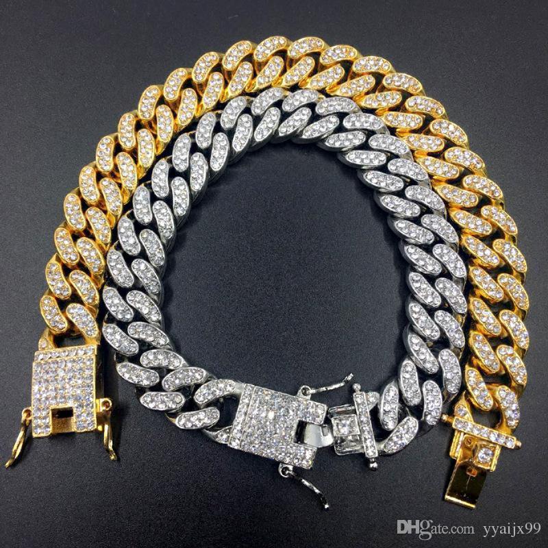 Pulsera de cadena de eslabones cubanos de Miami para hombre Pulseras de oro de hip hop Pulseras de diamantes simuladas Joyas Moda helado