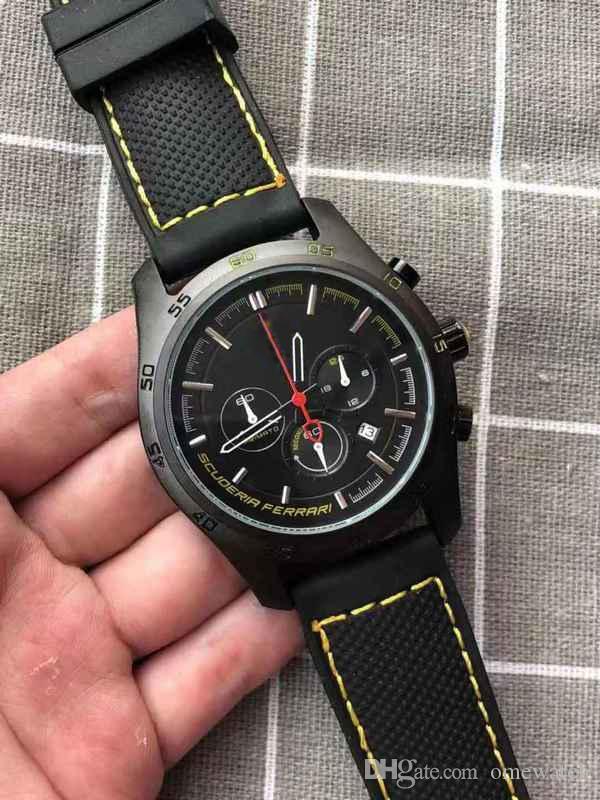 2019 New Qualit schwarzes Zifferblatt Quarz-Uhren Herren-Uhr Lederband Mode-Qualitäts-neuer Sport Einfachen Joker Full Function-Uhr