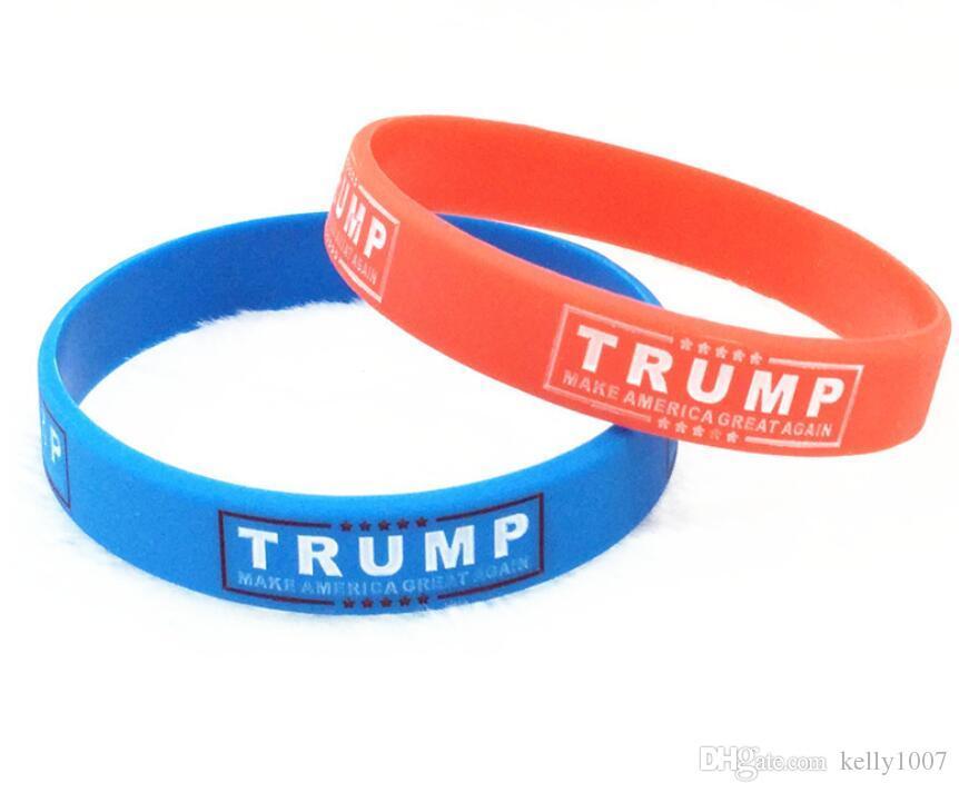 TRIUNFO Hacer partidarios América grande Nuevamente Carta de silicona pulsera de goma pulsera Donald Trump pulseras Muñequera A-11
