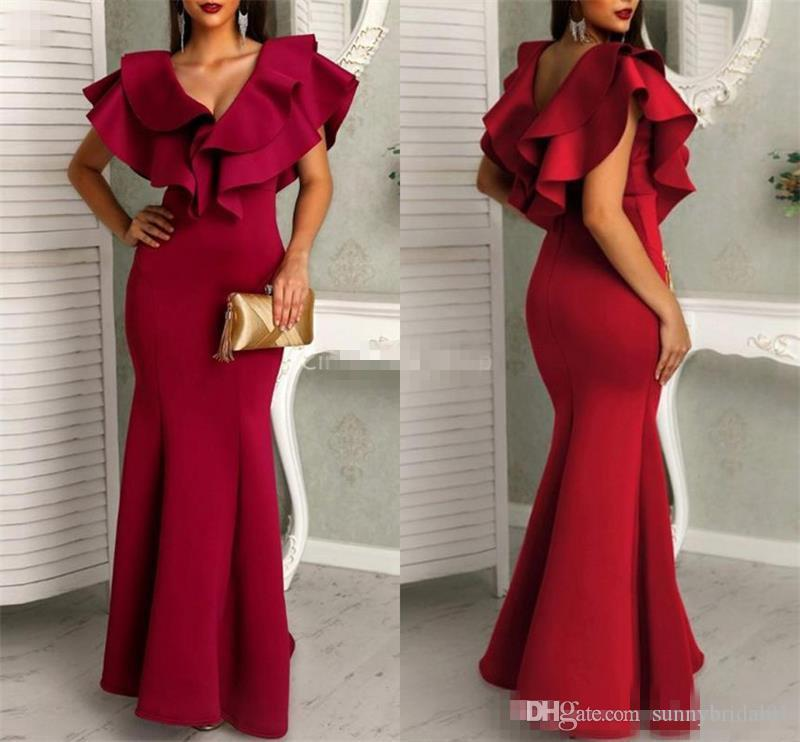 Sexy Dark Red Mermaid Prom Dresses 2019 V-Neck Cap Sleeves Maxi Long Arabic Formal Evening Party Gowns Cheap Customized Robes