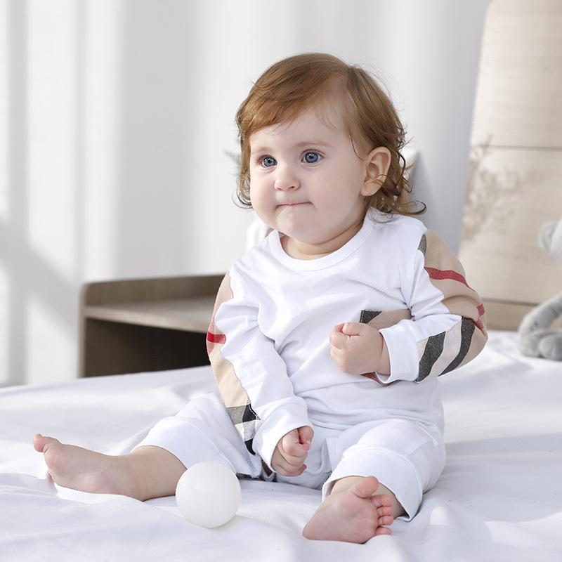 Einzelhandel INS Säuglingsbaby-Jungen-Mädchen-Marken-Spielanzug Kinder kleiden neue Hülsen-Spielanzug Kleidung Homewear 0-24 Monate Baumwolle 18 Arten Overalls A114