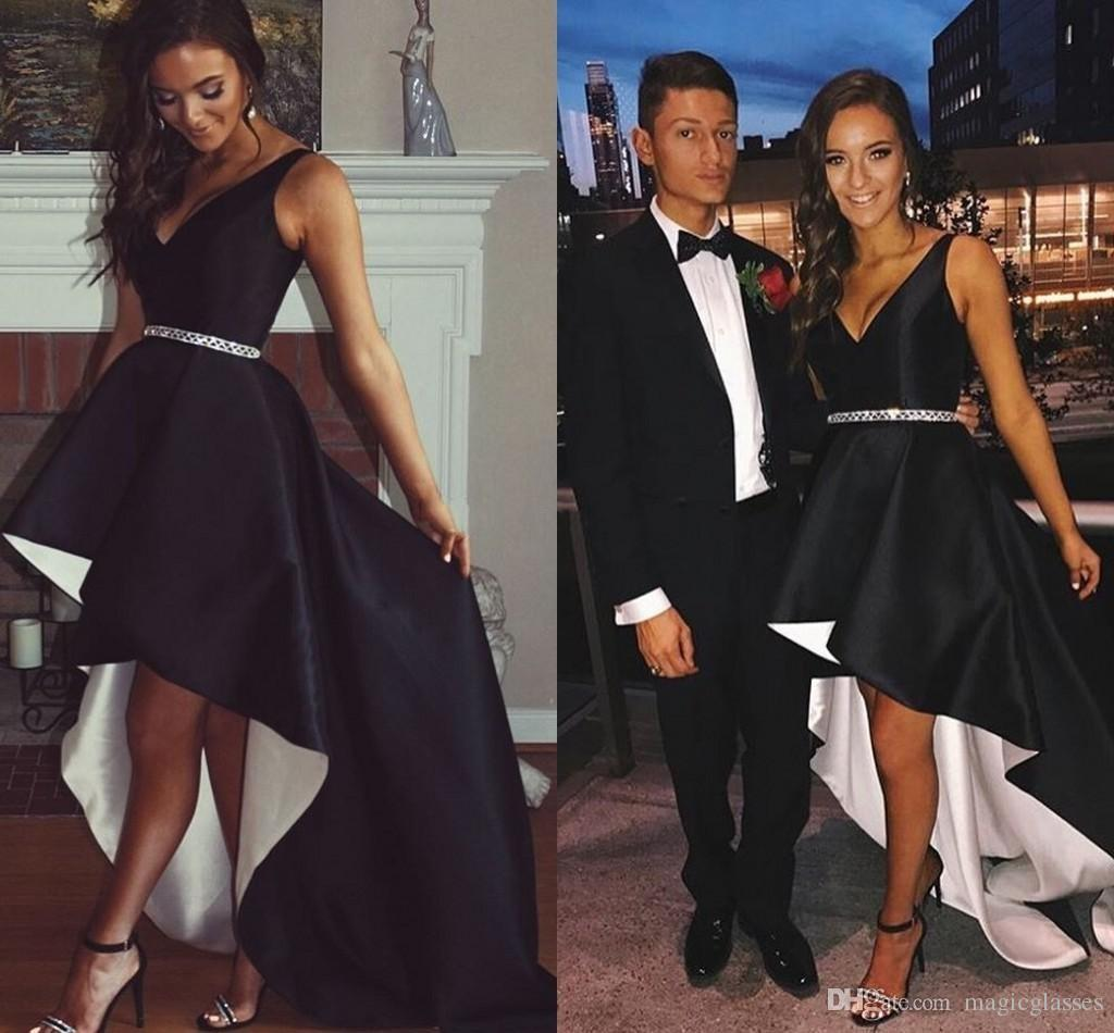 Black White High Low Satin Prom Dresses V Neck 2019 Fashion Hi Lo Party Dresses Simple Formal Dresses Evening Gowns Fast Shipping
