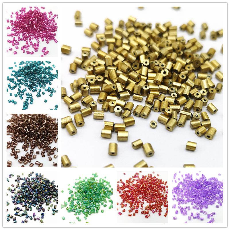 800 pz 2 * 2.5mm seed beads ceca cilindrica tubo di vetro perline bugle per la collana bracciali branelli allentati gioielli fai da te fare # mz