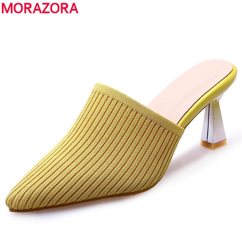 MORAZORA 2019 plus la taille 34-43 pantoufles pour femmes chaussettes à bout pointu Stretch Fabric dames d'été chaussures à talons hauts pantoufles femme