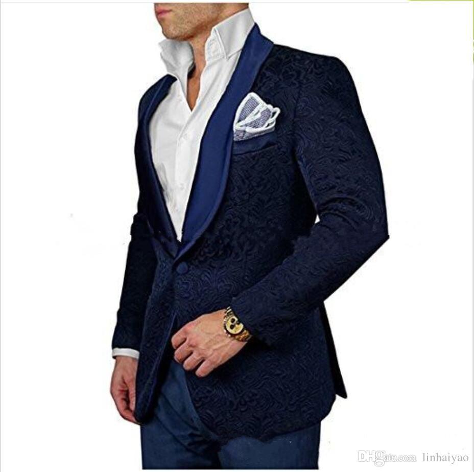 Moda Damat Smokin Groomsmen Bir Düğme Koyu Kırmızı Kadife Şal Yaka Best Man Suit Düğün erkek Blazer Suits (Ceket + Pantolon + Kravat)