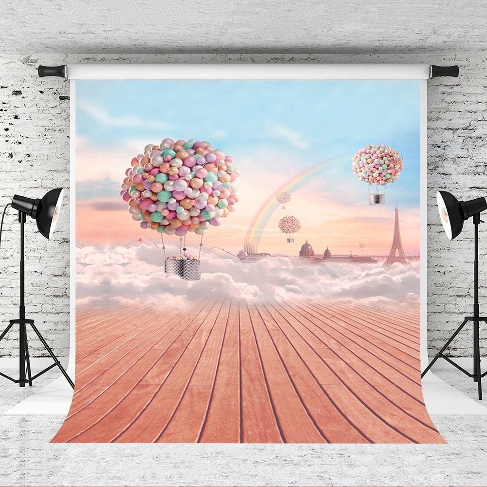 قوس قزح الخيال السماء غيوم خلفية 5x7ft ملون بالونات الهواء الساخن ديكور خلفية الصور ارضيات خشبية التصوير الخلفيات ستوديو الدعامة