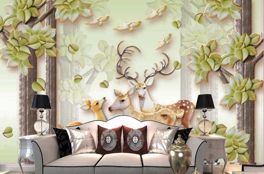 Custom Photo Wallpaper 3D Stereoscopic Embossed forest sika deer Bedroom Sofa Backdrop Wall Murals Wallpaper