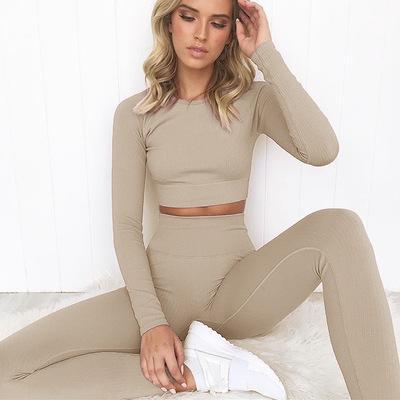 Kadınlar Yüksek Bel Spor Legging Uzun Kollu Top için nervürlü Dikişsiz Uzun Kollu yoga Setleri 2 Adet Set Kadınlar Egzersiz Giyim