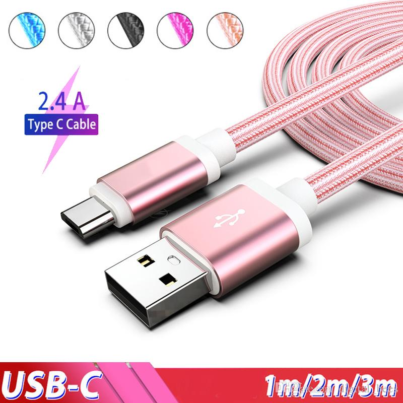 USB Charger Cable Typec Android Micro usb Charging Cord 2.4A For Samsung Galaxy S9 3m 2m 1m Nylon For Ip