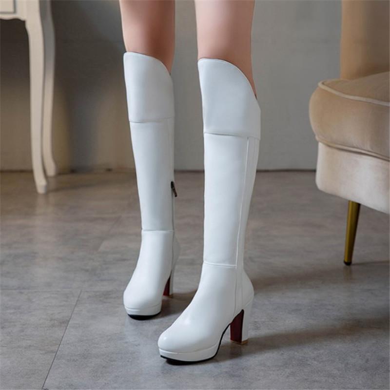 PXELENA NEW 플러스 사이즈 34 ~ 43 여성 발 뒤꿈치 무릎 높은 부츠 블랙 화이트 베이지 2020 겨울 레이디 신발 사무실 드레스 파티 승마 부츠