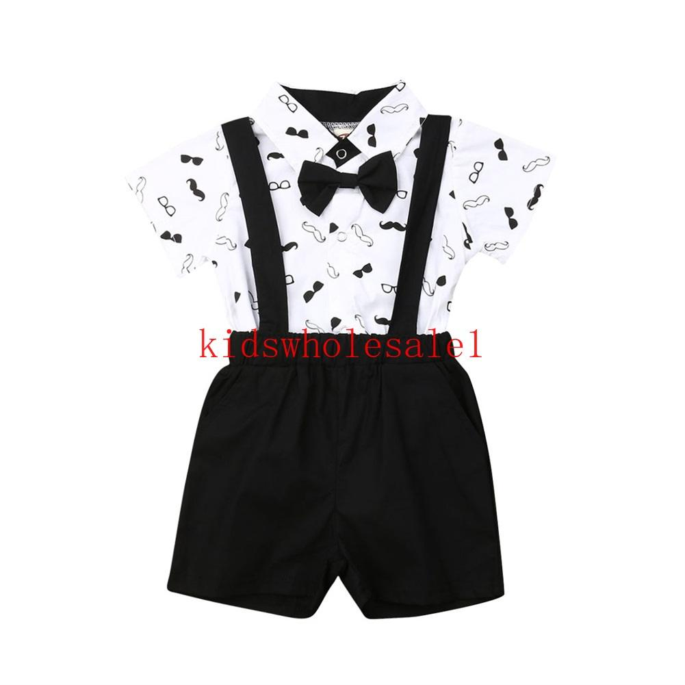 0-24M Newborn Baby Boy Clothes Sets Wedding Christening Formal Party Bow Tie Romper Tops+Overalls Shorts Suit Outfit Tuxedo
