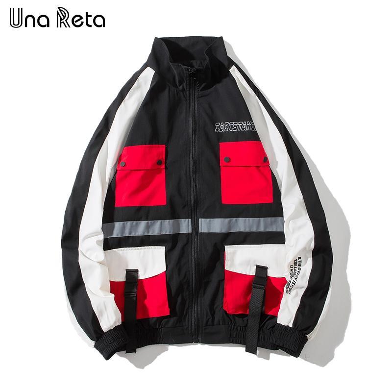 Una Reta hombre Chaquetas Otoño Nueva hebilla del bolsillo del diseño chaqueta de la capa de los hombres Streetwear clothesT chaqueta para hombre Hip hop casuales Harajuku