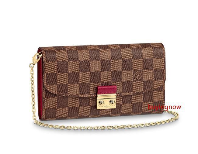 Croisette Monedero N60125 nuevas mujeres forman espectáculos exóticos bolsas de cuero bolsos icónicos tarde de los embragues de cadena fruncen