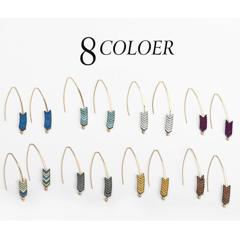 Creative Women Ladies Arrow Geometric Gold Plated Drop Earrings Jewelry Gift