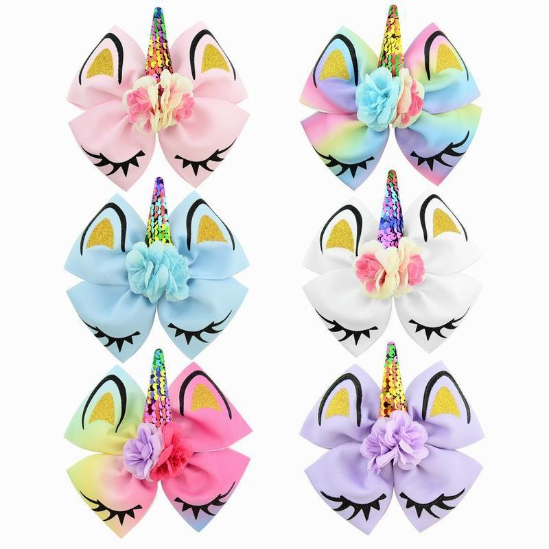 Wholesale Unicorn hairpin baby Sequined Flowers Big Bow Party Colorful Hair Clip Girls Gift E885
