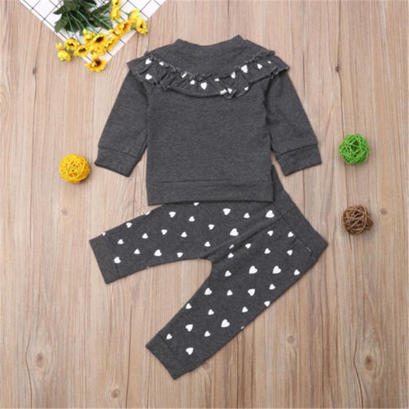 Automne mignon tout-petits enfants Bébés filles Vêtements 2PCS manches longues Volants imprimé cœur Pull Tops + Pantalons Outfit 0-4Y