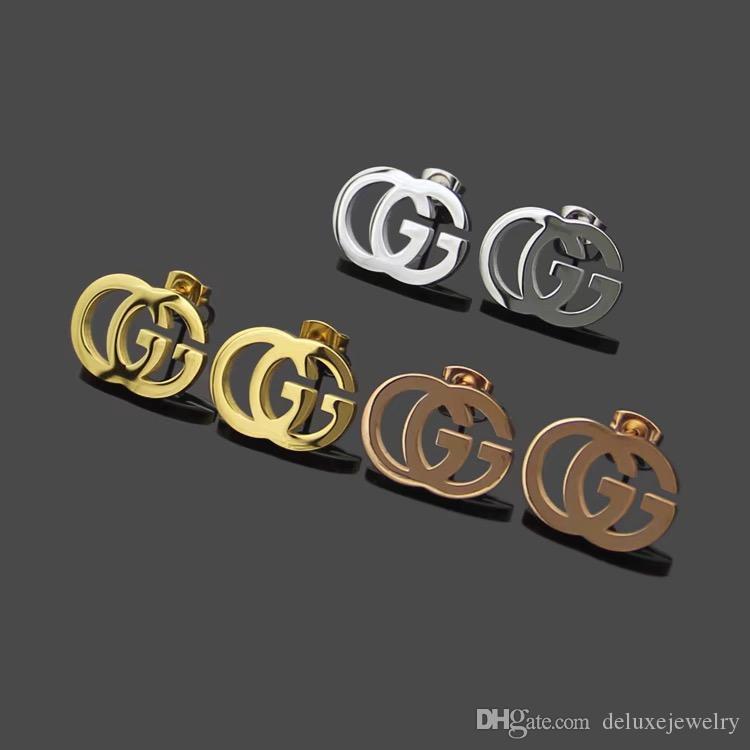 Alta calidad nueva de acero de titanio de la moda, hombres, mujeres simple subió letras pendientes dobles de plata de oro para las niñas amantes de la joyería al por mayor del niño