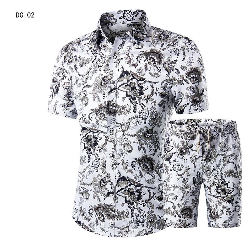 Suit Casual Mens praia havaiana Verão Define 2019 Vestuário de abertura de cama Coleiras Negócios cobre camisas + Shorts Moda Mens Set