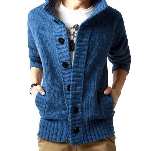 Новые мужская мода вязаный свитер