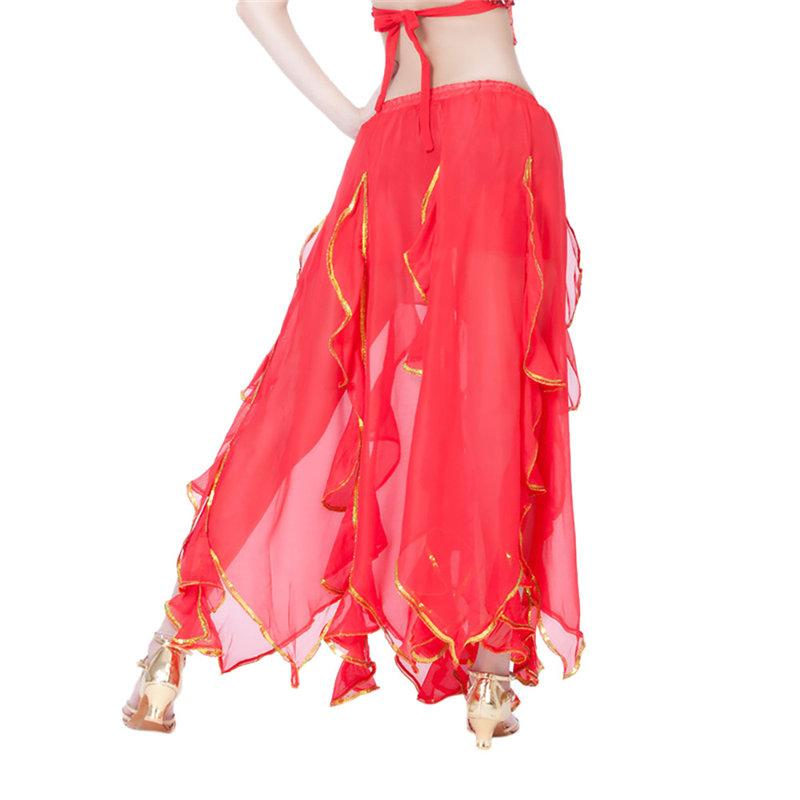 Carnaval Women Bellydance Costume Sequin Side Split Skirt Fan Veils For Dancing Tribal Skirt Belly Dance Jewelry C