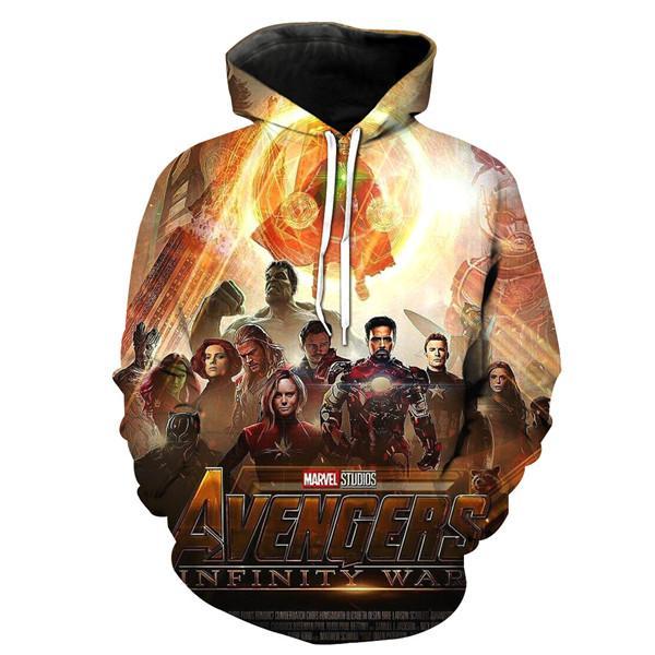 Avengers Endgame hommes de bande dessinée Hoodies 3D Imprimé Printemps Et Automne Lâche À Manches Longues Shirts Pour gratuite