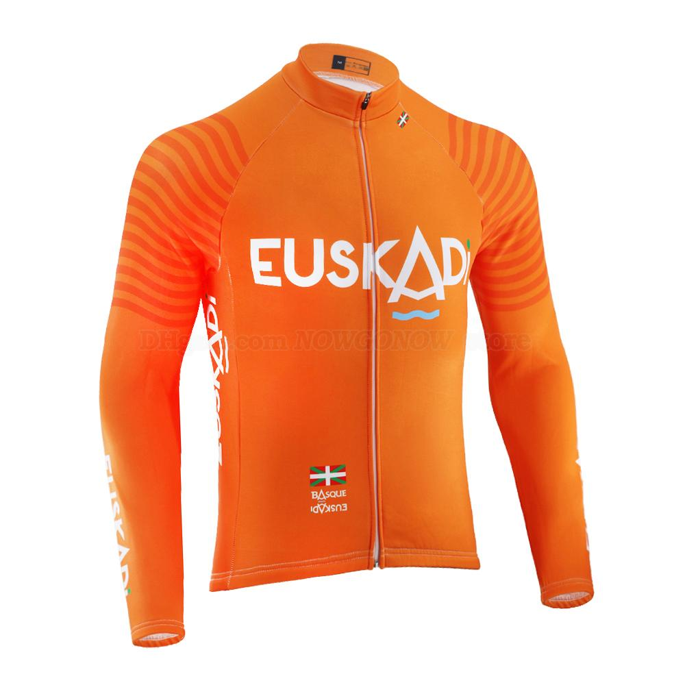 2020 Euskadi에서 프로 사이클링 팀 저지 남성의 오렌지 긴 소매 여름 얇은 / 겨울 양털 도로 경주 자전거 마모 의류 산악 자전거 저지