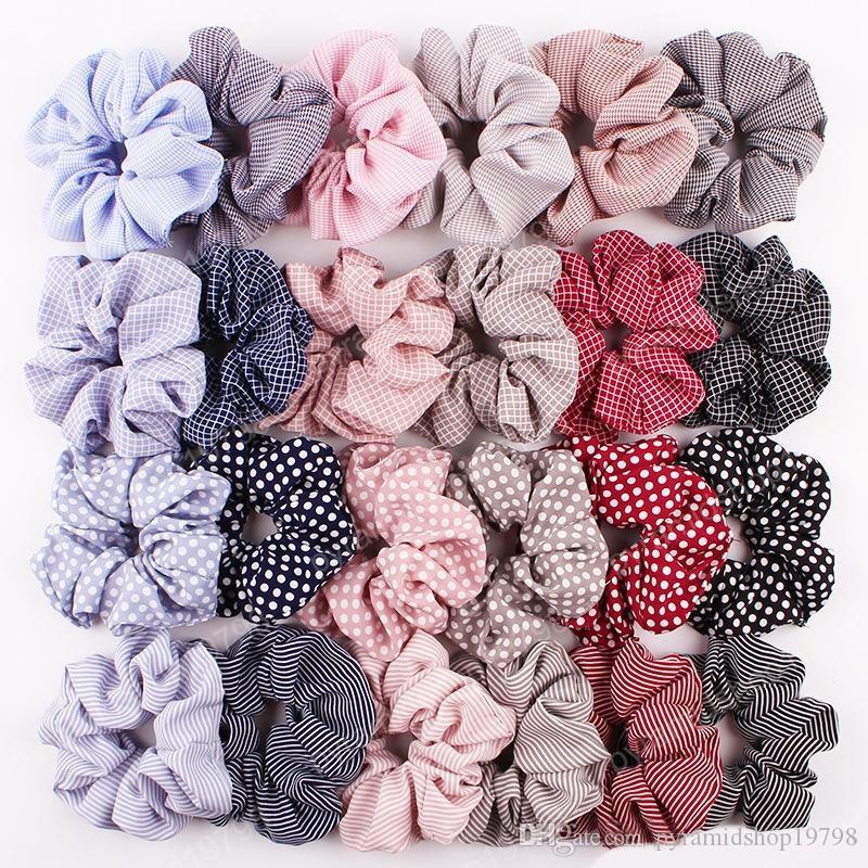 24 Color Color Mujer Girls Stripe Pattern Paño Anillo Elástico Lazos Accesorios Accesorios Ponillo de PonyTail Titular Hairbands Banda de goma Scrunchies