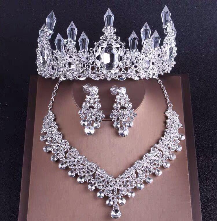 Bestseller-High-End-Brauthochzeitskrone Halskette Ohrringe dreiteiliges weißer Kristall handgemachte vorzügliche Fertigkeit Geburtstag Bankett Kopfschmuck