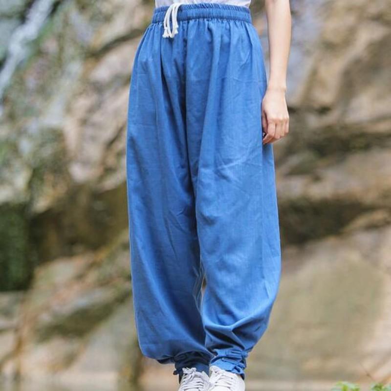 Top qualidade do algodão de linho Sports Calças da mulher do estilo chinês Yoga Martial Arts Calças Mulheres cor sólida confortável