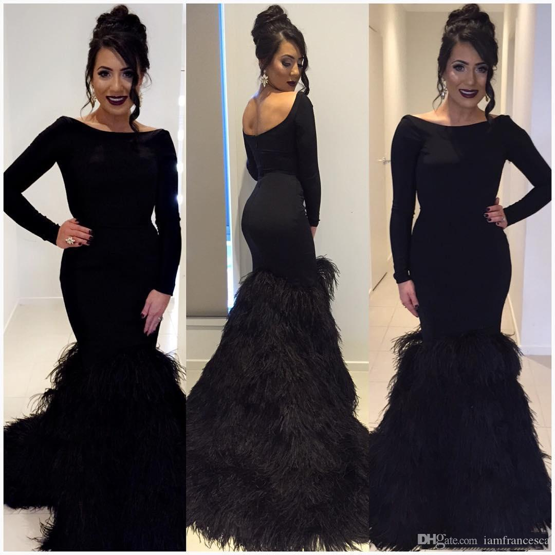 Black Backless Feathers Evening Dresses Slim Mermaid Formal Prom Gown Party Dress Special Occasion Custom Made Crew Neck Long Sleeves