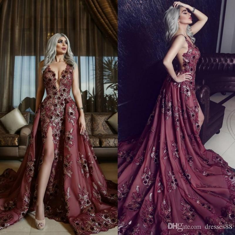 Sexy Appliqued Prom Dresses Deep V Neck Backless Split Party Gown Sweep Train Dress Evening Wear
