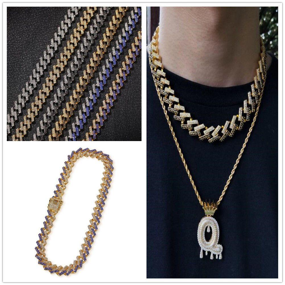 15mm 6 Farben Gold Silber Hip Hop Bling Diamant Kubanische Link Ketten Halskette Miami Rapper Herren Ketten Schmuck Tennis Halsketten Geschenke