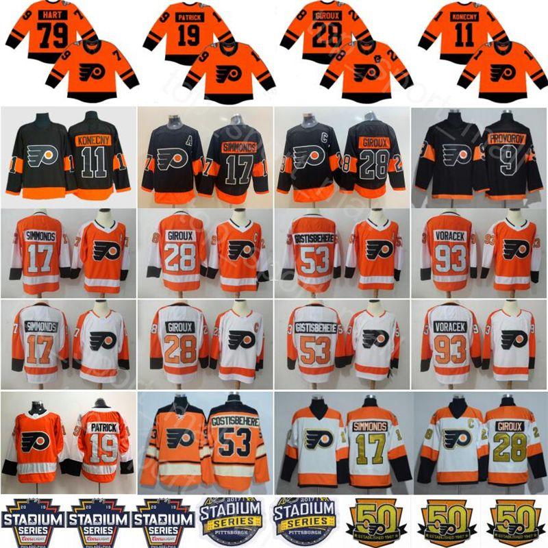 2019 Stadium Series Philadelphia Flyers 79 Carter Hart Jersey Nolan Patrick Ivan Provorov Travis Konecny Claude Giroux Hockey Hommes Femmes Enfants