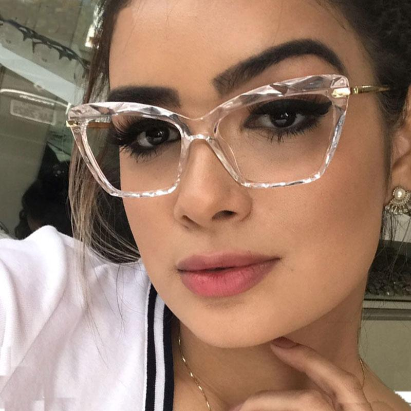 Fashion Square Glas-Rahmen für Frauen modische reizvolle Katze Augenglasrahmen optische Computer-Brillen oculos Armacao 2019