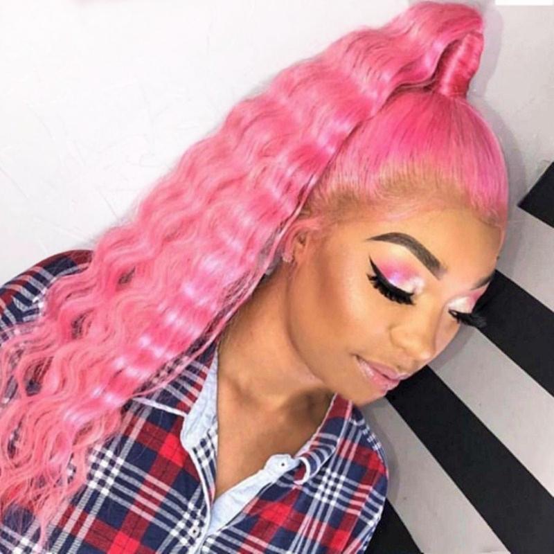 새로운 섹시한 물 분홍색 코스프레 가발 사전 뽑아 아기 머리가 저항 가열 흑인 여성에 대한 전체 레이스 프런트 가발 합성 머리 웨이브