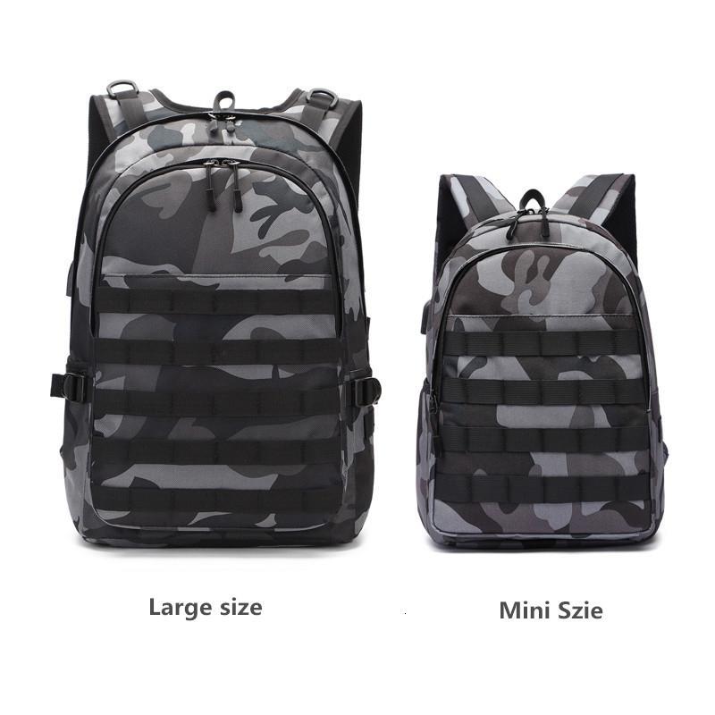 PUBG Backpack Men Bolsa Escola Mochila Pubg Battlefield infantaria Pacote de camuflagem Viagem Canvas Headphone USB Jack Voltar Mochila T190916