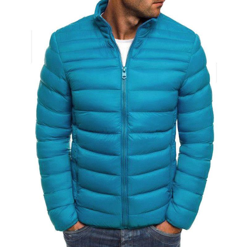 Mens sólido Jacket Designer Inverno manga comprida breve aquecimento Parkas com zíper Mens grossas Coats Casual