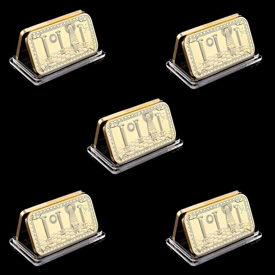 5pcs Freemason Souvenir Coins Collectibles Metal US Masonic Gold Bar 999 Gold Clad Souvenir Buillion