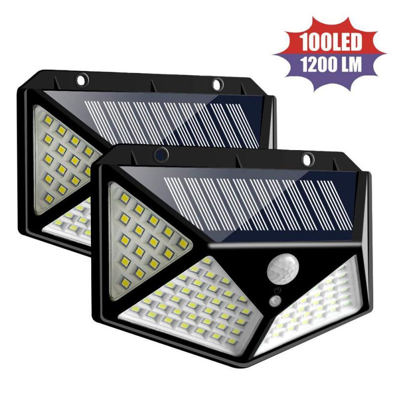 Lámpara solar de 100 LED de luz solar al aire libre del sensor de movimiento PIR pared impermeable de la luz La luz del sol con energía solar Jardín Decoración Luces al aire libre