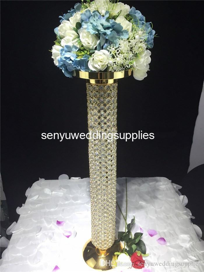 Golden cylindrical wedding flower stand/crystal beaded wedding centerpieces senyu0225