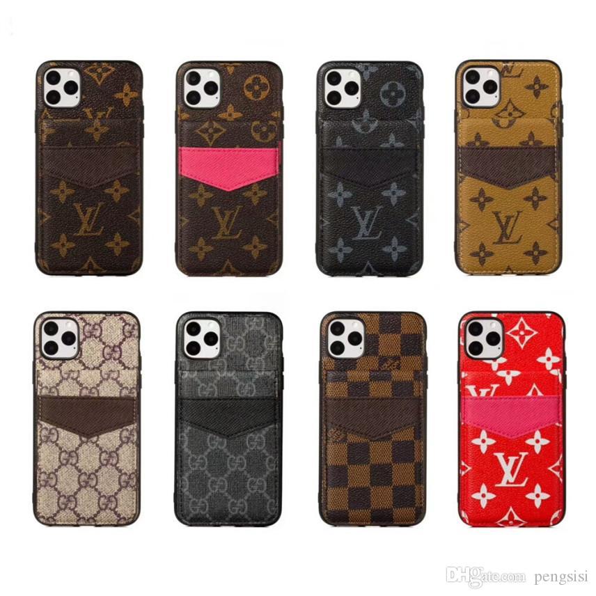 Top Designer für iPhone 11 Pro Max XS XR X 8 7 Plus-Telefon-Kasten-rückseitige Abdeckung mit Kartensteckplätzen für Samsung S8 S9 S10 Plus-Hinweis 9 10 Mobile Shell