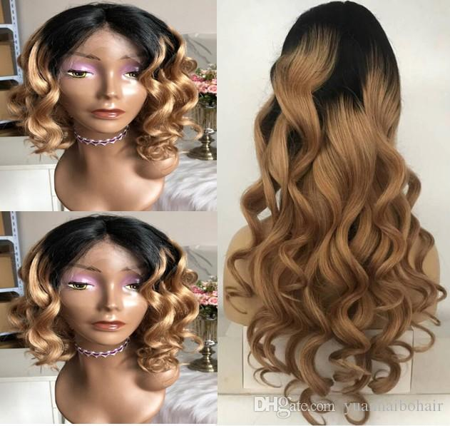 Celebrity Wigs Full Lace Wig High Quality Loose Wave Ombre Color 1bT4 Peruvian Virgin Human Hair Two Tone Lace Front Wig Free Shipping