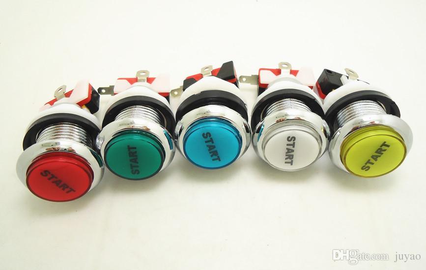 START 실버 조명 버튼 12 개 아케이드 게임기 용 마이크로 스위치 LED 조명이있는 조명 푸시 버튼