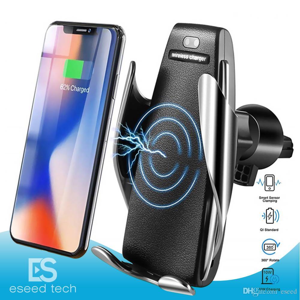 S5 Automatisches Spann 10W Qi Funk-Kfz-Ladegerät Lüftungshalterung Telefon Halter-Standplatz für iPhone drahtlose Ladegerät Android Alle Qi-Geräte retailbox