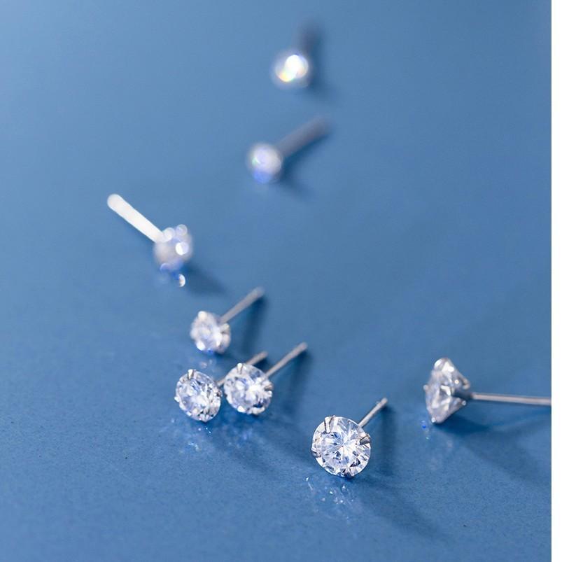 Minúsculo Rodada Cubic Zirconia 925 casamento de prata Studs Brincos para as mulheres jóias Moda Mens pequeno brincos de Natal