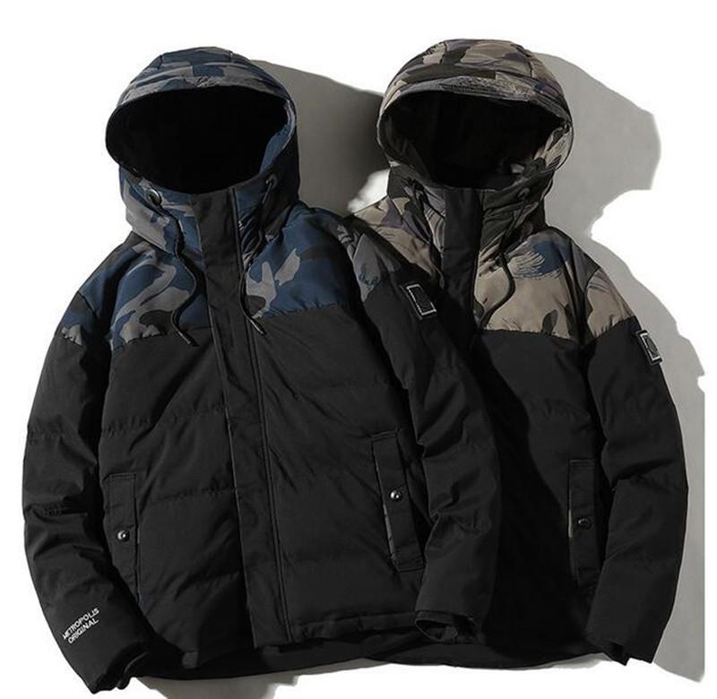 2020 inverno caldo di spessore con cappuccio piumino casuale degli uomini giacca di cotone nuova tendenza mimetica half-length giacca in cotone con cappuccio