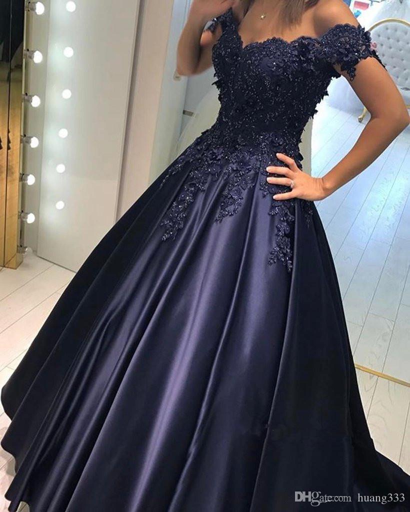 2019 Nuevos vestidos de noche formales Fuera del hombro Apliques Cuentas Una línea Vestidos largos Fiesta Azul Real Azul Prom Vestidos de fiesta Barato personalizado
