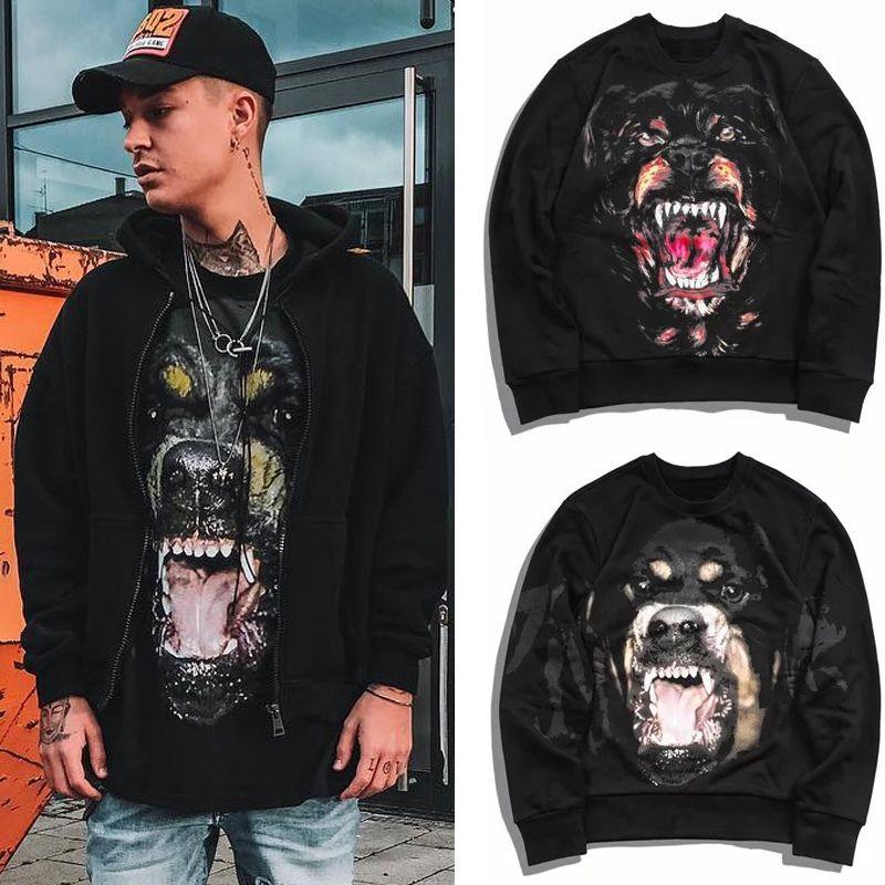 Men Designer Casual Rottweiler Dog Sweatshirt Fleece Thick Cotton Warm Sweat Hoodie Pullover Street Fashion Wear